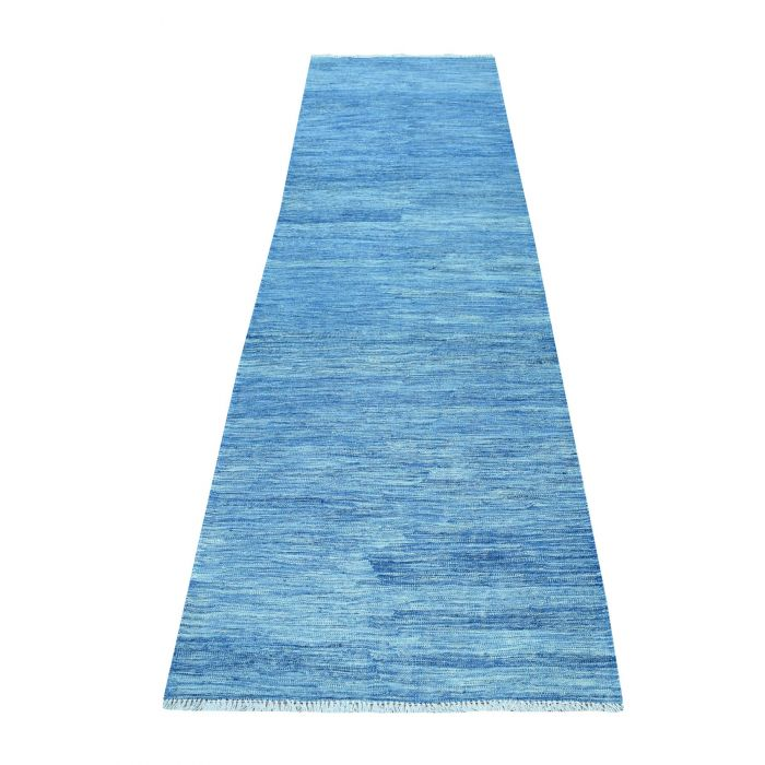 "2'9""x9'8"" Blue Shades Flat Weave Kilim Pure Wool Hand ..."
