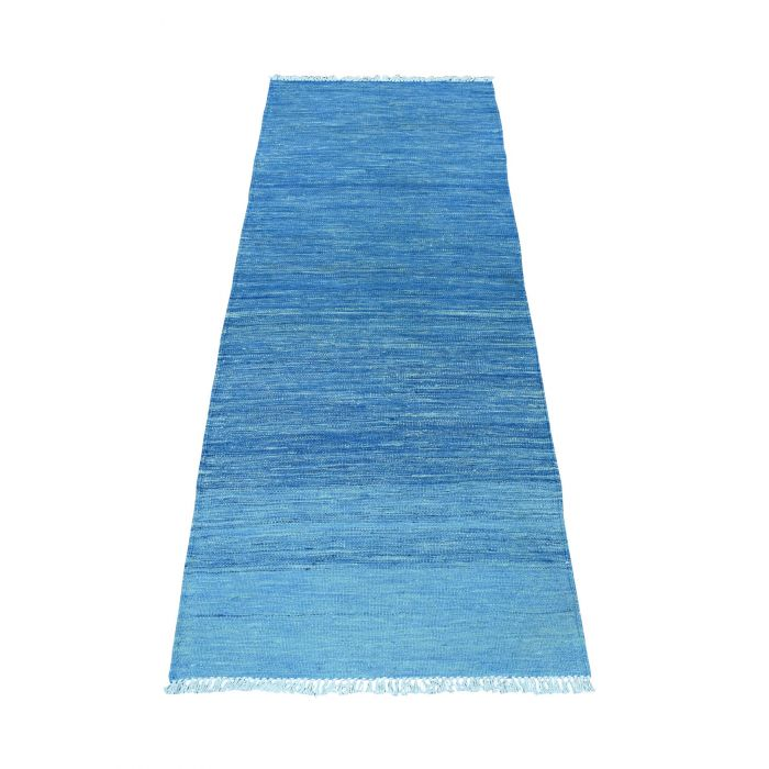 "2'4""x6'3"" Blue Shades Flat Weave Kilim Pure Wool Hand ..."