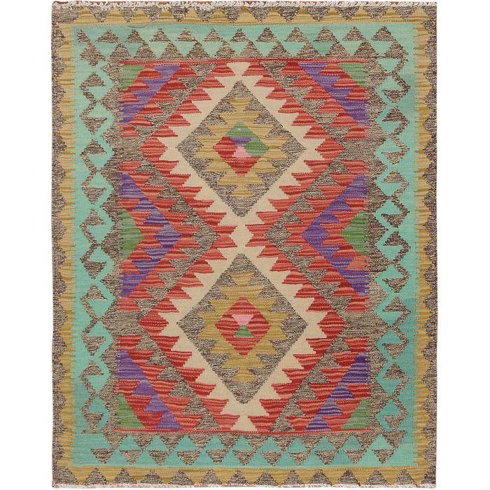"3'x3'8"" Colorful Afghan Reversible Kilim 100% Wool Hand ..."