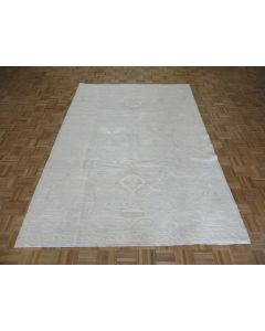 6'4 x 9'2 Hand Knotted Washed Out Beige Fine Peshawar Oushak Oriental Rug G7562