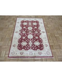 3'10 x 5'8 Hand Knotted Red Peshawar Oushak Oriental Rug G7568