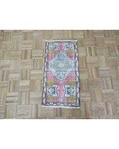 1'6 x 2'11 Hand Knotted Pink Vintage Turkish Oushak Oriental Rug G7579