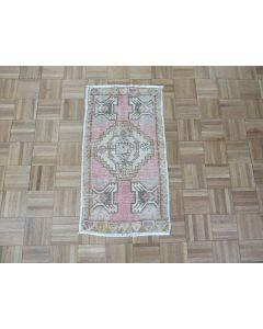 1'6 x 3'2 Hand Knotted Pink Vintage Turkish Oushak Oriental Rug G7596