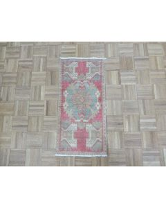 1'6 x 3'1 Hand Knotted Red Vintage Turkish Oushak Oriental Rug G7612