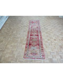2'6 x 11'7 Runner Hand Knotted Red Vintage Turkish Tribal Oriental Rug G7698