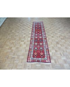 2'8 x 11'1 Runner Hand Knotted Red Vintage Turkish Tribal Oriental Rug G7705