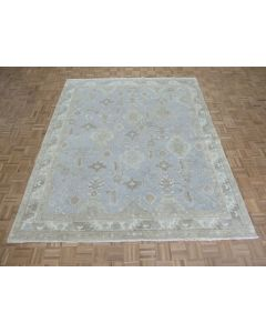 8'3 x 9'11 Hand Knotted Sky Blue White Wash Turkish Oushak Oriental Rug G8327