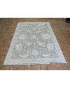 9'1 x 11'9 Hand Knotted Gray White Wash Turkish Oushak Oriental Rug G8332