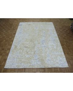 9 x 11'11 Hand Knotted Beige Fine Modern Abstract Oriental Rug With Silk G8337