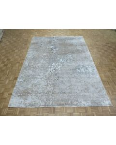 8'11 x 12'1 Hand Knotted Gray Fine Modern Abstract Oriental Rug With Silk G8338