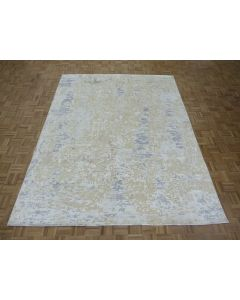 7'10 x 10'2 Hand Knotted Fine Modern Abstract Oriental Rug With Silk G8340