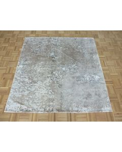 5'10 x 6 Square Hand Knotted Gray Modern Tibetan Oriental Rug With Silk G8344