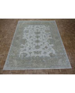 8'3 x 10'3 Hand Knotted Ivory Turkish Oushak Oriental Rug G8346