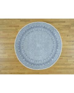 "6'7""x6'7"" Wool and Silk Hand-Knotted Kashan Design Round 300 Kpsi Rug G36036"