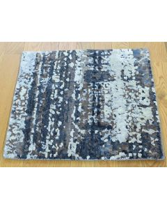 "1'10""x2' Hand-Knotted Wool and Silk Abstract Square Hi and Low Pile Rug G36247"