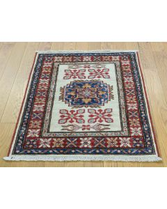 "2'1""X2'10"" Hand Knotted Tribal And Geometric Pure Wool Super Kazak Rug G36250"
