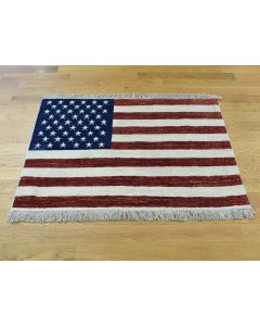 "2'7""x3'10"" Hand-Knotted Pure Wool Peshawar Quality American Flag Rug G36456"