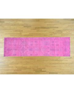 "3'6""x12' Hand-Knotted Pink Cast Overdyed Ikat Pure Wool Runner Rug G36475"