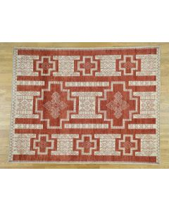 "8'1""x10' Pure Wool Hand-Knotted Peshawar with Southwest Motifs Rug G36488"