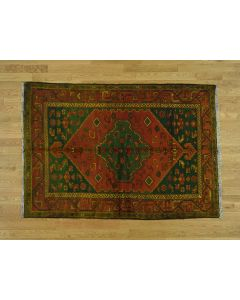 "4'6""x6'5"" Overdyed Persian Hamadan Pure Wool Hand-Knotted Oriental Rug G36520"