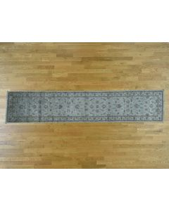 "2'8""x13' Silver Wash Peshawar Pure Wool Hand-Knotted Runner Rug G36522"