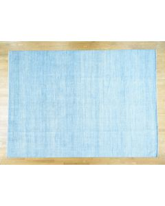 10'x13'9 Sky Blue Hand-Knotted Pure Wool Grass Design Oriental Rug G36651