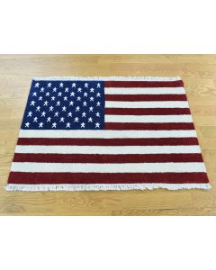 "2'6""x4' Pure Wool Hand-Knotted American Flag Oriental Rug G36655"