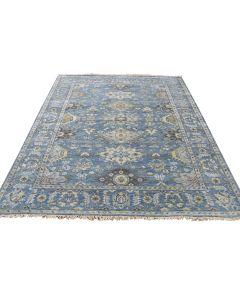 "5'x6'9"" Hand-Knotted Pure Wool Denim Blue Fine Oriental Rug G40686"