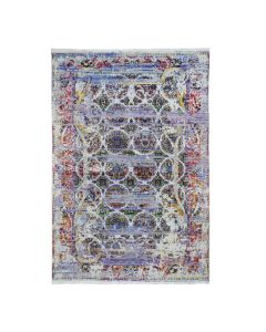 """6'x9'1"""" ERASED ROSSETS, Colorful Sari Silk With Oxy Wool Handmade Rug G46940"""