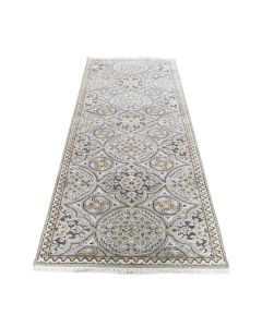 """2'7""""x7'9"""" Textured Wool and Silk Mughal Inspired Medallions Runner Rug G46949"""