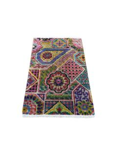 "1'10""x3' Sampler Sari Silk With Textured Wool Jewelry Design Handmade Rug G46960"