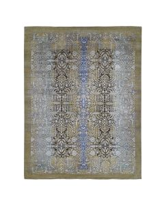 "12'2""x15'4"" Oversized Silk with Textured Wool Transitional Fine  Rug G47562"