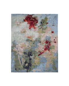 8'x10' Wool And Silk Hi And Lo Pile Abstract Design Hand-Knotted Rug G47579
