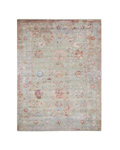 "9'1""x11'9"" Colorful Erased Wool And Silk Hand Knotted Oriental Rug G47593"