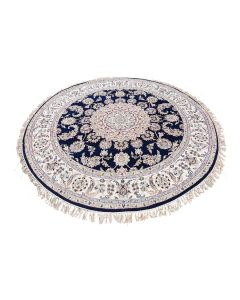 """6'1""""x6'2"""" Navy Blue Round Nain Wool And Silk 250 KPSI Hand Knotted Rug G47651"""