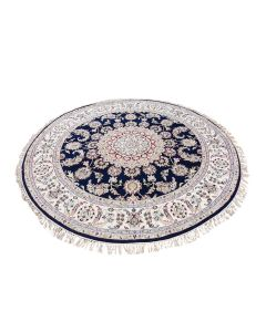 6'x6' Navy Blue Round Nain Wool And Silk 250 KPSI Hand Knotted Rug G47654