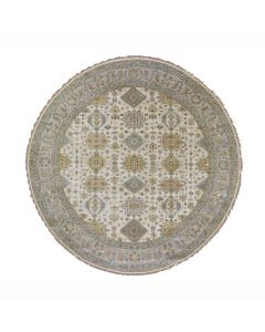 10'x10' Round Ivory Pure Wool Geometric Design Hand Knotted Tribal Rug G47871