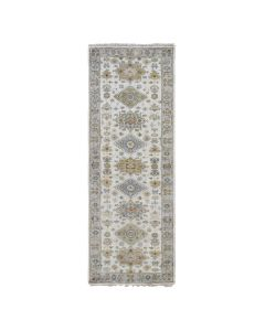 """2'8""""x8' Ivory Pure Wool Geometric Design Runner Hand Knotted Tribal G47893"""