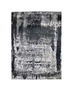 """9'1""""x12' Black Abstract Design Wool And Silk Hand Knotted Oriental Rug G47938"""