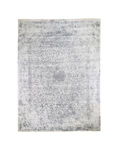 9'x12' Silver-Dark Gray Erased Design Wool and Pure Silk Fine Rug G47941