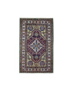 "3'4""x5' Purple Super Kazak Pure Wool Geometric Design Handmade Rug G50977"