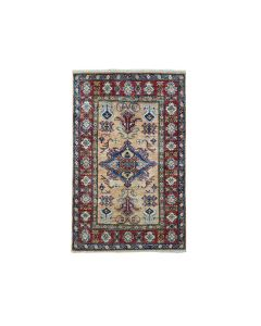 "2'10""x4' Super Kazak Pure Wool Geometric Design Handmade Rug G50982"
