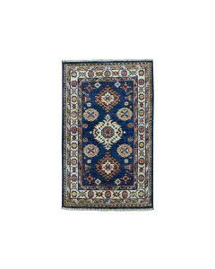 2'x3' Blue Super Kazak Geometric Design Pure Wool Handmade Rug G50985