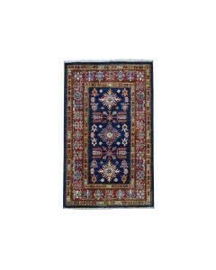 "1'10""x3'2"" Blue Super Kazak Geometric Design Pure Wool Handmade Rug G50986"