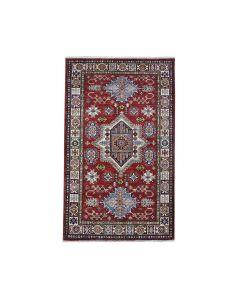 "3'2""x5' Red Super Kazak Pure Wool Geometric Design Handmade Rug G51035"