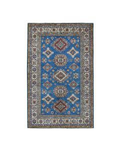 "5'9""x8'6"" Blue Super Kazak Geometric Design Pure Wool Handmade  Rug G51038"