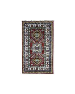 "2'10""x4' Red Super Kazak Pure Wool Geometric Design Handmade Rug G51075"