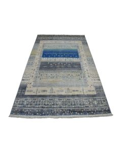 """5'7""""x7'8"""" Gray Pure Wool Kashkuli Gabbeh Pictorial Hand Knotted Rug G51784"""