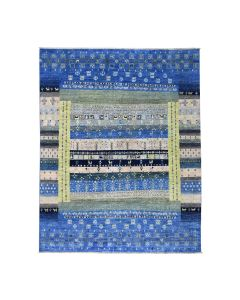 """7'9""""x9'9"""" Pure Wool Kashkuli Gabbeh Pictorial Hand Knotted Rug G51814"""